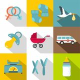 Products for newborns icon set, flat style. Products for newborns icon set. Flat style set of 9 products for newborns vector icons for web design Stock Images
