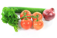 Products for Organic Cucumbers and Tomatoes Salad. Stock Image
