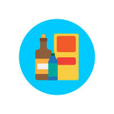 Products packages flat icon. Round colorful button, circular vector sign, logo illustration. Stock Images