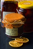 Products from the pantry. Jam, fruits and liquor royalty free stock image