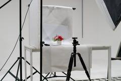 Product photo studio setup with lighting equipment. Products photo studio setup with lighting equipment royalty free stock image