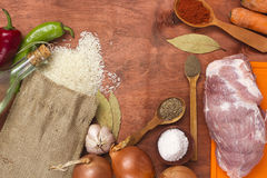 Products for pilaf with meat Royalty Free Stock Photography