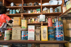 Products from pioneer days. Antique variety of products from pioneering days in Australia Stock Image