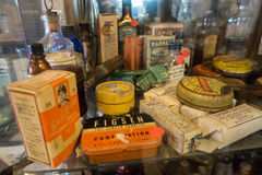 Products from pioneer days. Antique variety of products from pioneering days in Australia Royalty Free Stock Photo