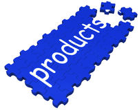 Products Puzzle Shows Shopping Or Merchandise. Products Puzzle Shows Shopping, Catalogues Or Merchandise Stock Photography
