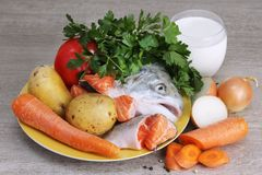 Ingredients for traditional nordic creamy soup with salmon royalty free stock photography