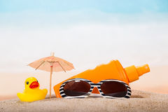 Products for relaxing on the beach Royalty Free Stock Photography