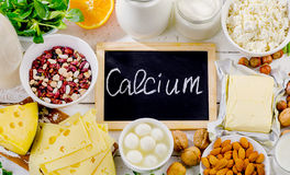 Products rich in calcium. Healthy food. Flat lay Royalty Free Stock Photography