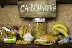 Products rich of complex carbohydrates. Foods Highest in Carbohydrates. Healthy diet eating concept. Fast and slow carbohydrates. Assortment of products rich of royalty free stock photos