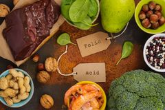 Products rich of folic acid Stock Image