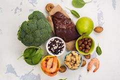 Products rich of folic acid Royalty Free Stock Images
