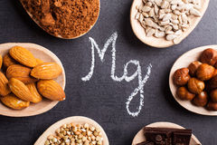 Products rich in magnesium. On wooden spoons Royalty Free Stock Photos