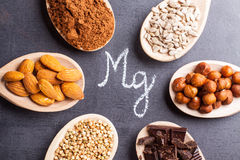 Products rich in magnesium. On wooden spoons Stock Image