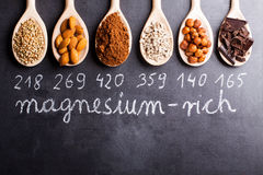 Products rich in magnesium. On wooden spoons Royalty Free Stock Images