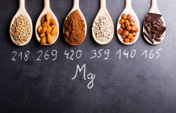 Products rich in magnesium. On wooden spoons Royalty Free Stock Photo