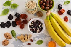 Food containing potassium Royalty Free Stock Images
