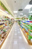 Products shop shelves, biscuits, chocolate and suplements. Packs of biscuits and chocolate, supplements in the shelves of a shopping center in Zagreb in Croatia Stock Photography