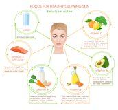 Products for skin. Foods for healthy glowing skin. Infographic. Woman portarait in center. Natural vitamines sources Stock Image