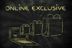 Products sold exclusively online (illustration of bags coming ou Stock Photo