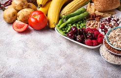 Healthy products sources of carbohydrates. Products sources of carbohydrates. Healthy carbs food. Selective focus royalty free stock images