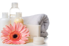 Products for spa, body care and hygiene. Composition of products for spa, body care and hygiene on a white background Royalty Free Stock Images