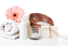 Products for spa, body care and hygiene. Composition of products for spa, body care and hygiene on a white background Stock Photos