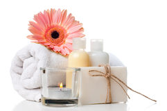 Products for spa, body care and hygiene. Composition of products for spa, body care and hygiene on a white background Stock Image