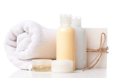 Products for spa, body care and hygiene. Composition of products for spa, body care and hygiene on a white background Royalty Free Stock Photography