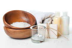 Products for spa, body care and hygiene. Composition of products for spa, body care and hygiene on a white background Stock Images