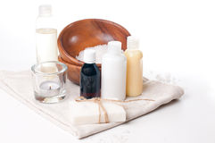 Products for spa, body care and hygiene. Composition of products for spa, body care and hygiene on a white background Royalty Free Stock Photo