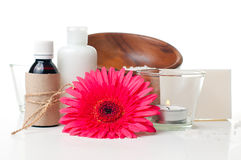 Products for spa, body care and hygiene. Composition of products for spa, body care and hygiene on a white background Stock Photography