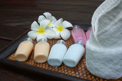 Products for spa. Composition of products for spa, body care and hygiene Royalty Free Stock Photography