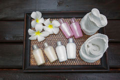 Products for spa. Composition of products for spa, body care and hygiene Royalty Free Stock Photo
