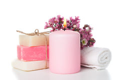Products for spa in pink Royalty Free Stock Photo