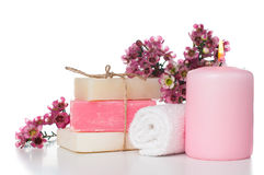 Products for spa in pink Stock Image