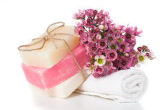 Products for spa in pink Stock Photo