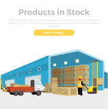 Products in Stock. Equipment delivery process of the warehouse. Warehouse interior, logisti and factory, building warehouse exterior, business delivery Royalty Free Stock Image