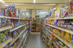 Products on store shelves Stock Image
