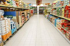 Products in a supermarket Royalty Free Stock Photo