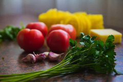 Products on the table. Organic Food on the table before cooking Royalty Free Stock Photo