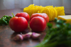 Products on the table. Organic Food on the table before cooking Royalty Free Stock Images