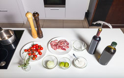Products on the table. Top view of ingredients for preparing meat on the table Stock Photo