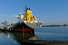 Products Tanker in operations at the Oil Terminal stock photography