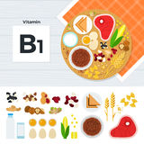 Products with vitamin B1. Vitamin B1 vector flat illustrations. Foods containing vitamin B1 on the table. Source of vitamin B1: meat, corn, porridge, eggs, milk Stock Image