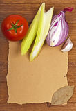 Products on a wooden, paper surface Stock Images