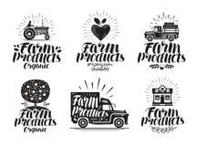 Produit de la ferme, ensemble de label Agriculture, cultivant l'icône ou le logo Lettrage, illustration de vecteur de calligraphi Photographie stock libre de droits