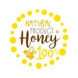 Produit naturel de miel, logo de 100 pour cent Illustration tirée par la main colorée de vecteur Image stock