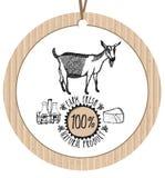 Produit naturel frais de ferme de chèvre de label de carton Photos libres de droits