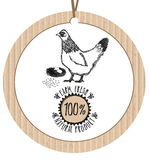 Produit naturel frais de ferme de poulet de label de carton Photos stock