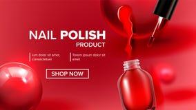 Produit rouge Vial Landing Page Vector de vernis à ongles illustration stock